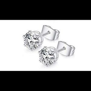 Jewelry - 14K White Gold Plated Cubic Zirconia 6mm Earrings
